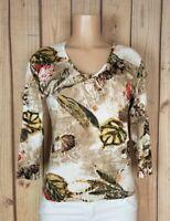 PUNT ROMA Womens Size Medium 3/4 Sleeve Shirt Vneck Mettalic Flora Print Top
