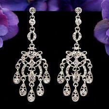 Rhodium Plated Clear Crystal  Rhinestone Wedding Chandelier Dangle Earrings 2149