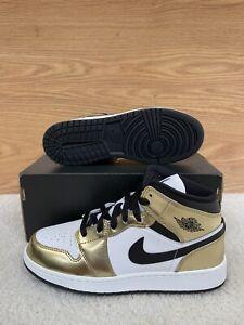 Nike Air Jordan 1 Mid SE GS Metallic Gold Black White DC1420-700 6Y Women's 7.5