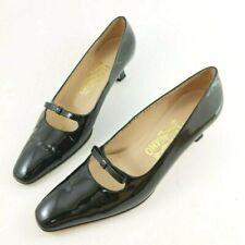 Ferragamo Black Patent Leather Kitten Heels Bows Women's Size 8 AA Pumps Italy