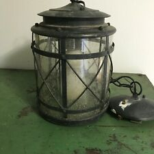 Old Metal Hanging Round Fixture Lamp Hallway Porch Glass Globe w Chain Mounting