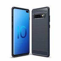 Samsung Galaxy S10 Plus TPU Phone Case Carbon Fiber Brushed Protective Case Blau