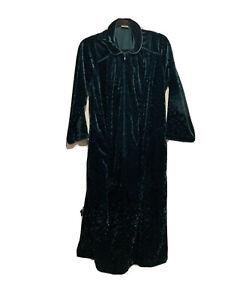 Vintage Cabernet Dark Green Velour Housecoat Half Zip Size Petite Medium