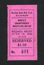RARE 1922 Ed Strangler Lewis John Freberg wrestling ticket Minneapolis Minnesota