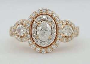 0.96 ct 14K Rose Gold Oval Cut Diamond Three Stone Double Halo Engagement Ring