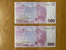 Union européenne billet de 500 Euro, Préfixe U (France), Signé Duisenberg, 2002