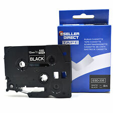 NEW COMPATIBLE LABEL TAPE FOR BROTHER P-TOUCH H101C PT-H101C 12mm WHITE on BLACK