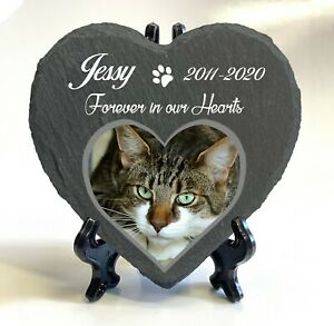 Personalised Pet Memorial Stone Slate Heart Grave Marker Plaque Display Stand