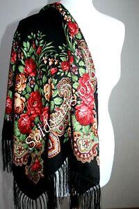 LUXURY FLORAL RUSSIAN SHAWL WOOL SCARF BLACK DRESS PAVLOVO POSAD STYLE RUSSIA