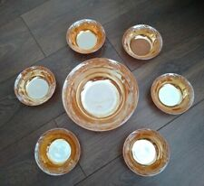 More details for vintage anchor hocking fire-king oven ware 7pce bowls set peach lustre vgc