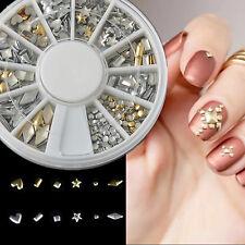 Metal nail art charms ebay 120pcs heart metal studs nail art tips gold silver fashion charms decoration prinsesfo Images