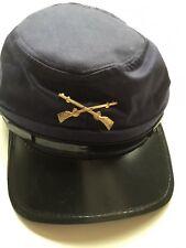 Confederate Cadet Gray Kepi civil war hat blue costume plastic bill one size
