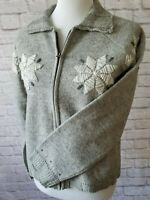 Woolrich Women's Size Medium (M)Poinsettia Embroidered Sweater Gray 100%Wool
