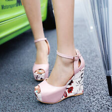 Fashion Womens Wedges High Heel Ankle Strap Buckle Slingback Peep Toe Sandals