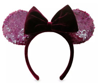 Disney Parks Minnie Wine Bordeaux Burgundy Ears Headband Sequin velvet Bow - NEW