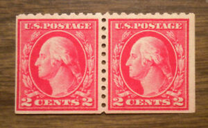 U S Stamps: A Washington booklet pair  -  2 cent  perf 10  -  OG NH