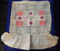 Vtg Antique PILLOW Pad COVER w/ Lace Embroidered Pansy Flower Appliques, Flounce