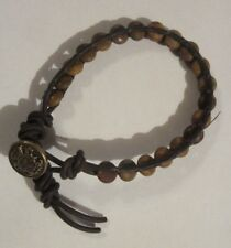 NATURAL STONE MENS BRACELET STONE, LEATHER, AND VINTAGE BUTTON