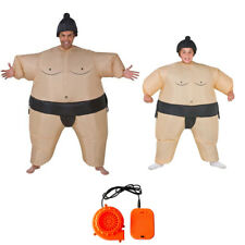Inflatable Wrestler Sumo Suits Hat Adult Kid Costume Fancy Dress Blow Up Party
