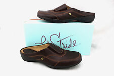 $59 LIFE STRIDE Benson Brown Leather Slides Loafers Moccasin Driving Shoes 8 New