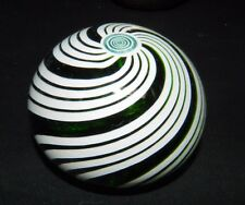 "PERTHSHIRE Green & White SWIRL With Mini ""P"" MILLEFIORI Mark on Base PAPERWEIGHT"