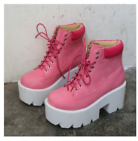 Women Punk Gothic Platform Chunky Lace Up Cleated Sole Ankle Boots Casual Shoes