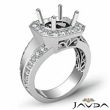 Round Cut Semi Mount 0.66Ct Diamond Engagement Ring 14k White Gold Halo Pave Set