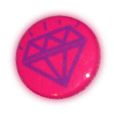 Badge DiAMoND TaTToO Violet/ fond Rose diamant stylisé rockabilly button Ø25mm