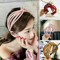 Women Fabric Hairband Twist Bow Knot Cross Headband Girl Hair Band Lady Headwear
