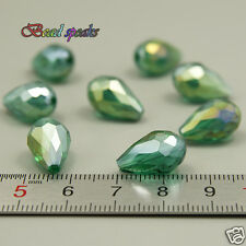 16 pc 15×10 mm AB Peacock Green Faceted Vertical Teardrop Crystal Beads CS404