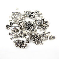Mixed 40pcs Tibetan Silver Skull Charms Pendant Jewelry Making Findings DIY bbx