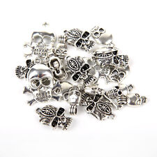 Mixed 40pcs Tibetan Silver Skull Charms Pendant Jewelry Making Findings DIY bbx