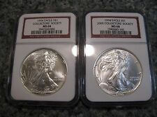 1994 MS68 COLLECTORS' SOCIETY 1oz AMERICAN SILVER EAGLE COINS NGC GRADED RED