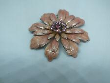 Beautiful Brooch Pin Silver Tone Peach Enamel Flower Pink Rhinestones 2 1/2