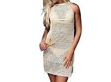 Jeasona Women's Bathing Suit Cover Up Crochet Backless Bikini Swimsuit Dress,Bei