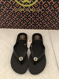 TORY BURCH Perfect Black Flip Flop Sandals Gold Logo Size 8 New