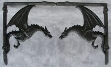 2 Architectural Gothic Dragon Cast Iron Shelf Wall Corner Brackets