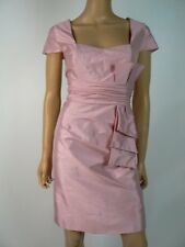 JS Boutique Pink Taffeta Ruched Cap Sleeve Bow Sheath Cocktail Dress 10 NEW J300