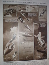 How Pilots can parachute from aircraft at high speed G H Davis old prints 1949