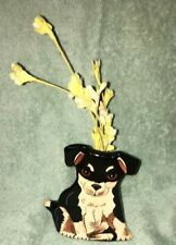 "NWT Nina Lyman Black Cute Ceramic Dog 5"" Puppy Vase, Pencil Holder, House Deco"