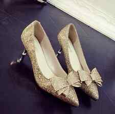 Ladies Pointed Toe Bowknot Sequins Bling Bling Bridal Shoes Low Heel Stilettos