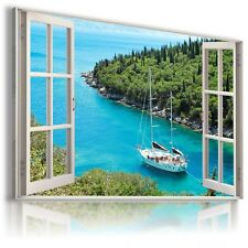 BOAT RIVER FOREST 3D Window View Canvas Wall Art Picture Large W19 MATAGA .