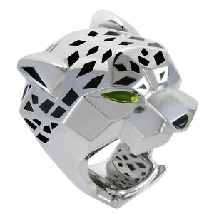 0.40 CT Peridot Pear Shape Diamond Eyes HipHop Panther Ring Solid 925 Silver