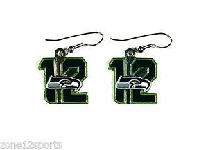 "NFL Seahawks 12th Man Number ""12"" with Seahawks LOGO Dangle Earrings"