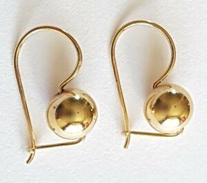 Stunning Solid 9ct Gold Fish Hook Ball Earrings. Drop Dressy. 1.06g. 375