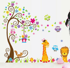 Owl Animal Wall Stickers LionJungle Zoo Tree Nursery Baby Kids Room Decal Art