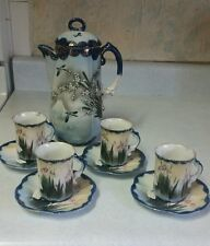 Oriental hand painted tea set / birds and flowers, collectable