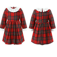 Girl Check Tartan Dress Kid Spring Long Sleeve Round Ruffle Neck Pleated Costume