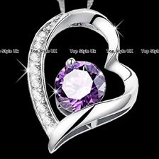 Ofertas De Viernes Negro Violeta Cristal Corazón Collar Regalos Para Chicas Hermana de mujer A7