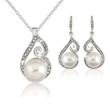 Bridal Bridesmaid Wedding Party Jewelry Set Crystal Pearl Necklace Earrings Bν